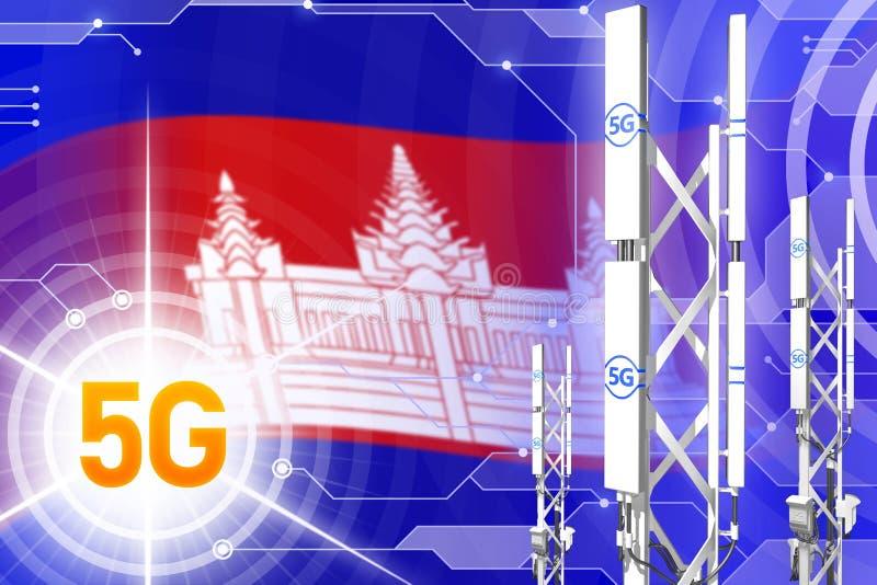 Ilustração industrial de Camboja 5G, mastro celular grande da rede ou torre no fundo digital com a bandeira - ilustração 3D ilustração do vetor