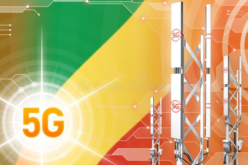 Ilustração industrial de Congo 5G, grande mastro celular da rede ou torre no fundo digital com a bandeira - ilustração 3D ilustração stock