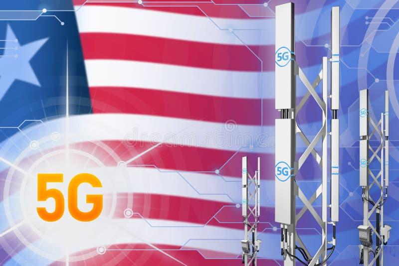Ilustração industrial de Libéria 5G, grande mastro celular da rede ou torre no fundo com a bandeira - da olá!-tecnologia ilus ilustração royalty free