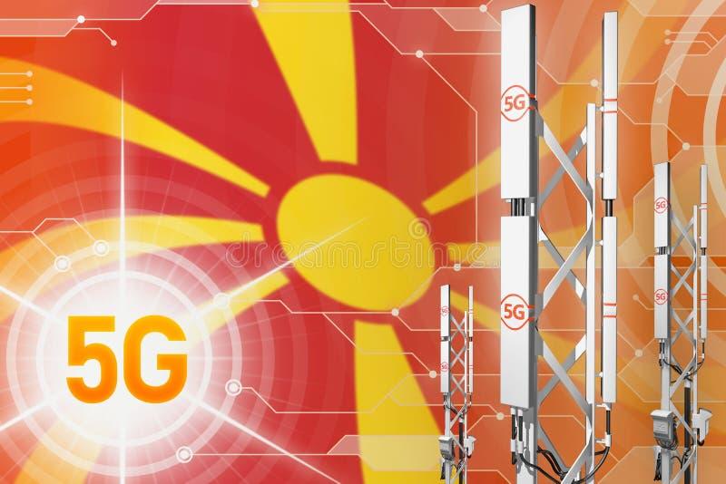 Ilustração industrial de Macedônia 5G, grande mastro celular da rede ou torre no fundo digital com a bandeira - ilustração 3 ilustração do vetor