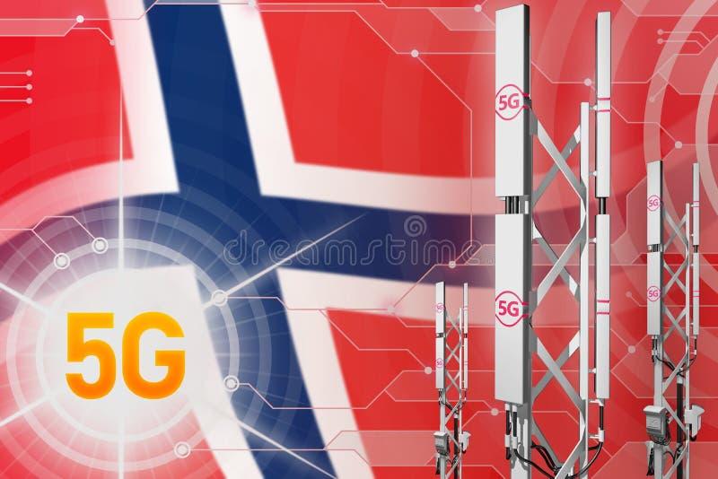 Ilustração industrial de Noruega 5G, mastro celular enorme da rede ou torre no fundo moderno com a bandeira - ilustração 3D ilustração royalty free