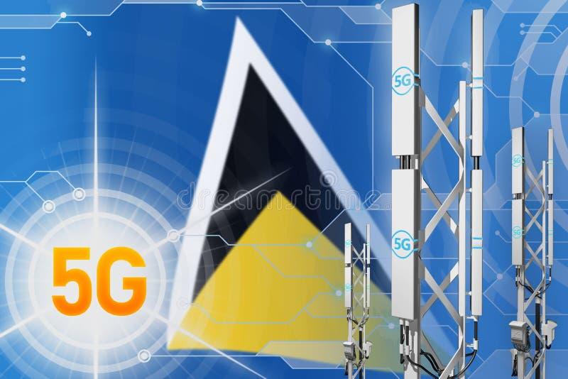 Ilustração industrial de St Lucia 5G, mastro celular enorme da rede ou torre no fundo moderno com a bandeira - ilustração 3D ilustração royalty free