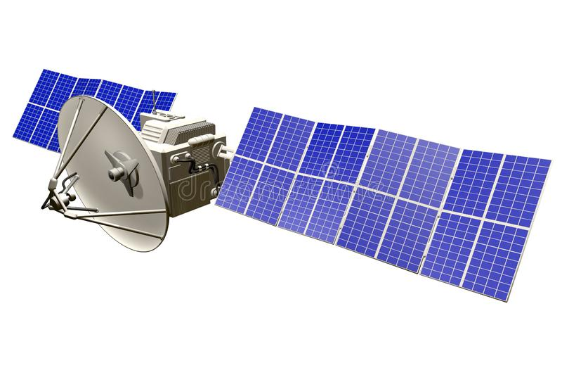 Ilustra??o industrial sat?lite orbital - nave espacial com os grandes pain?is de energias solares isolados no fundo branco claro  ilustração royalty free