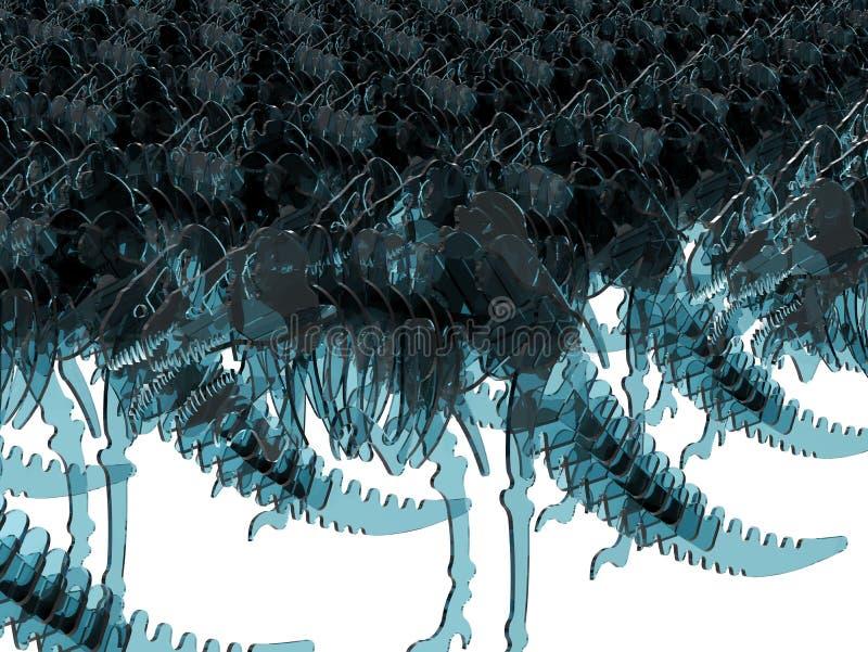Ilustração infinita dos esqueletos de T Rex ilustração do vetor