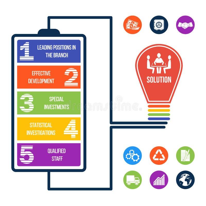 Ilustração infographic do negócio + 9 ícones do bônus! ilustração royalty free