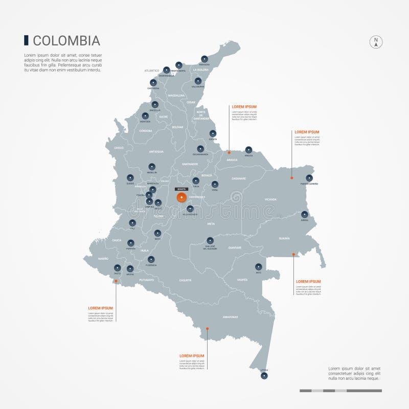 Ilustração infographic do vetor do mapa de Colômbia ilustração royalty free