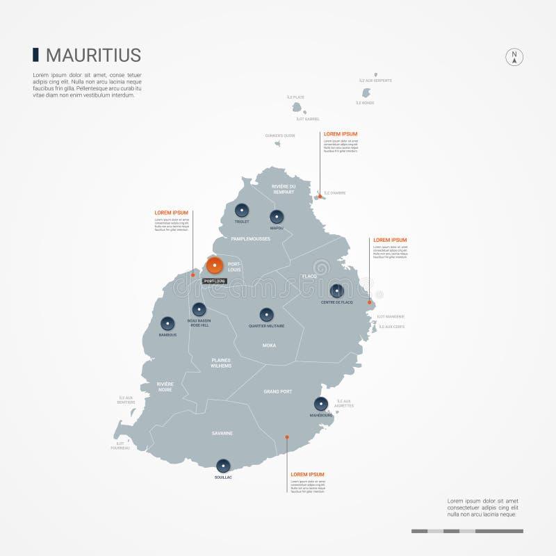Ilustração infographic do vetor do mapa de Maurícias ilustração royalty free