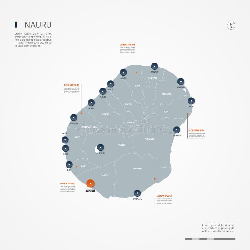 Ilustração infographic do vetor do mapa de Nauru ilustração stock