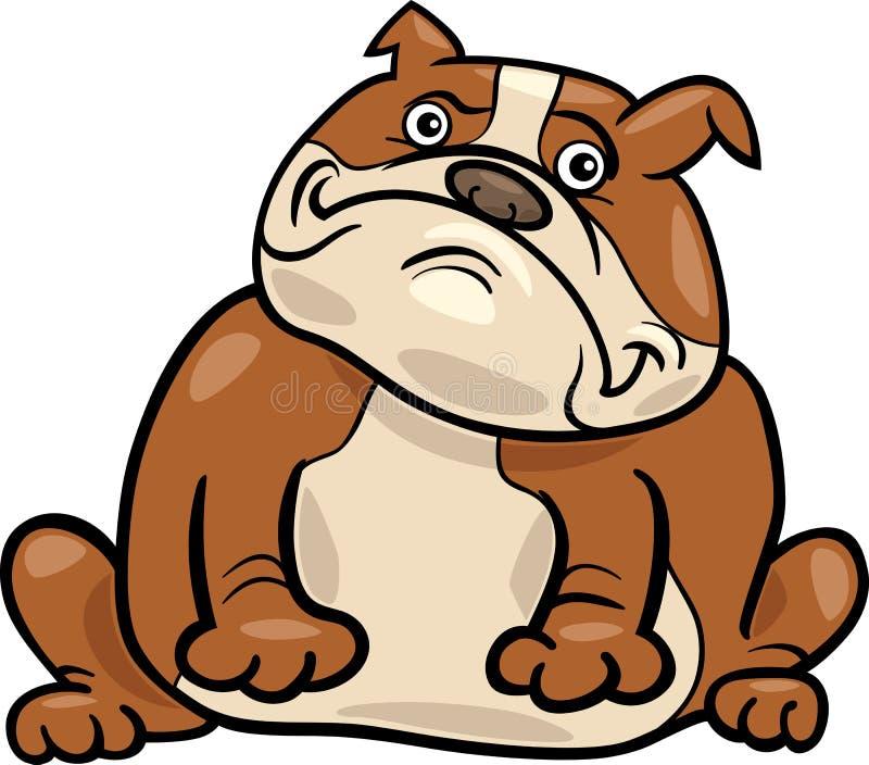 Ilustração inglesa dos desenhos animados do cão do buldogue ilustração royalty free