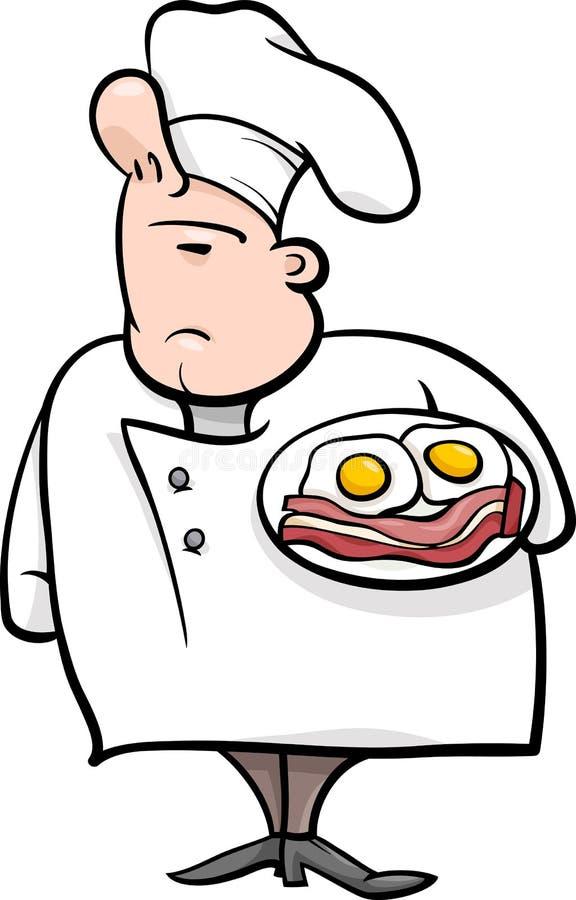 Ilustração inglesa dos desenhos animados do cozinheiro chefe ilustração do vetor