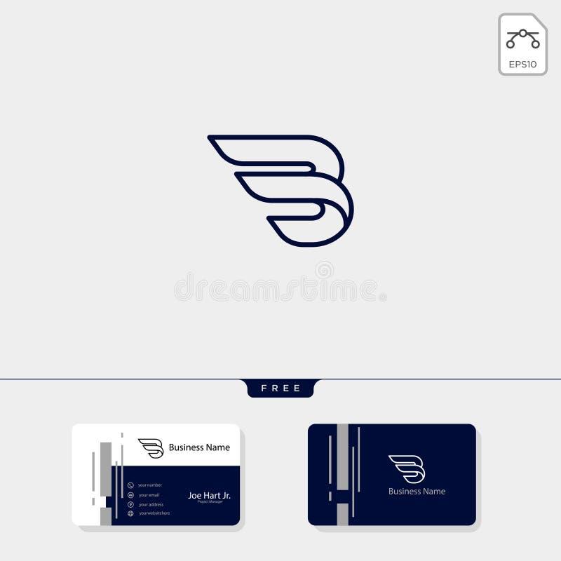 a ilustração inicial mínima do vetor do molde do logotipo das asas de B, obtém o molde livre do projeto de cartão ilustração do vetor