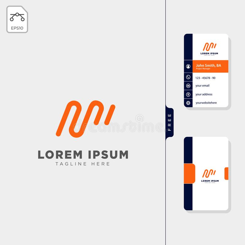 ilustração inicial mínima do vetor do molde do logotipo de M, projeto de cartão livre ilustração stock