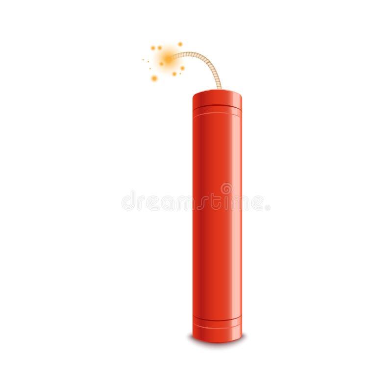 Ilustração instantânea realística do vetor do fogo 3d vermelho isolada em um fundo branco ilustração stock