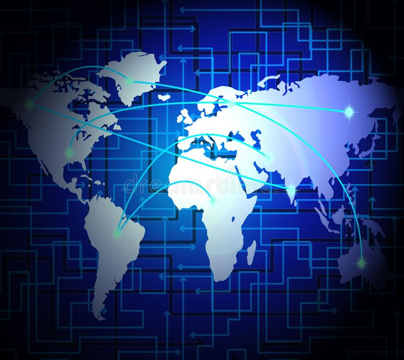 Ilustração interconectada da relação da tecnologia do mundo do globo 2d ilustração royalty free