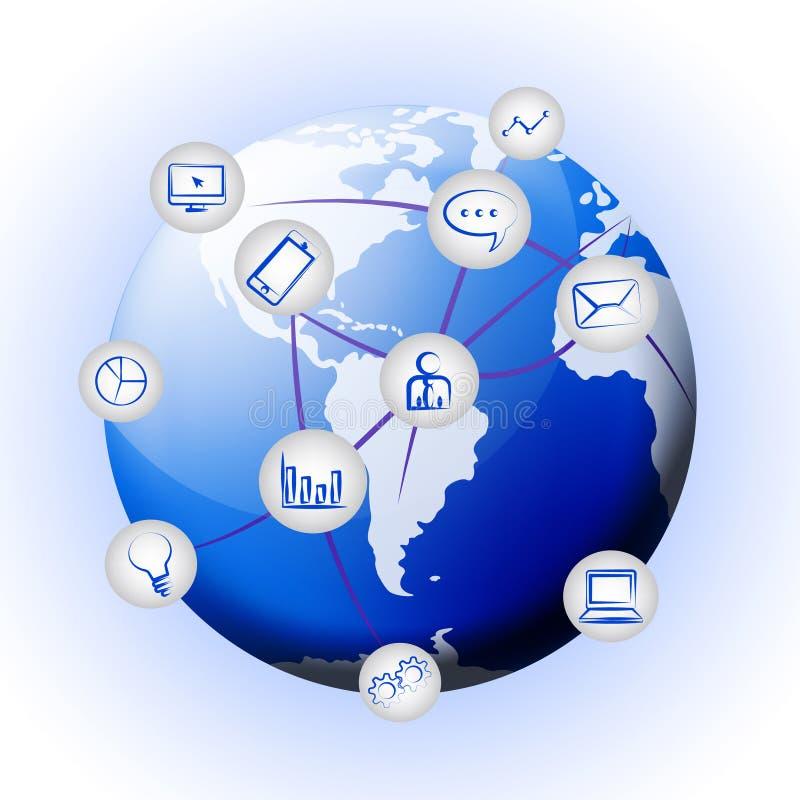 Ilustração interconectada da relação da tecnologia do mundo do globo 2d ilustração do vetor