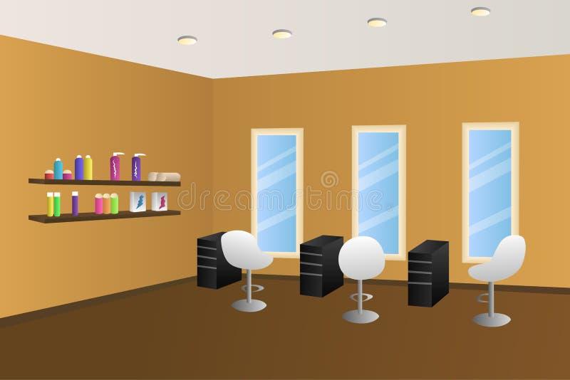 Ilustração interior alaranjada da sala do salão de beleza do cabeleireiro ilustração do vetor