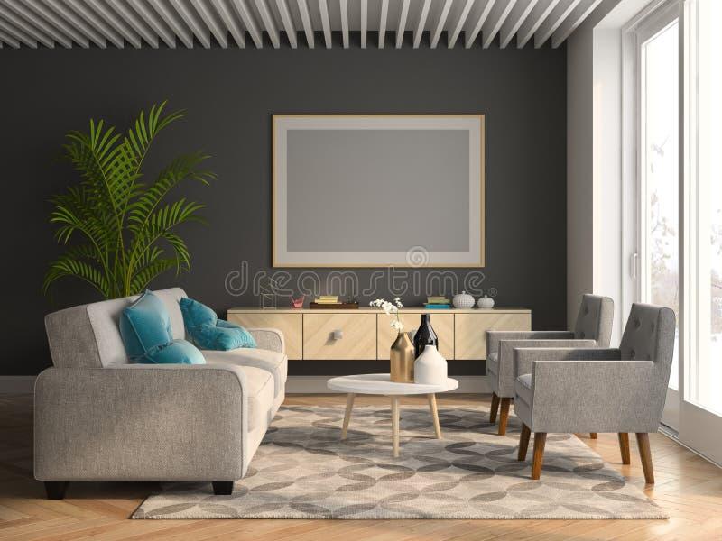 Ilustração interior da sala 3D do projeto moderno ilustração royalty free