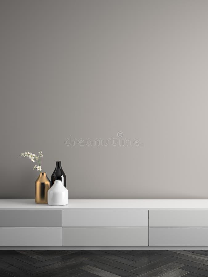 Ilustração interior da sala 3D do projeto moderno ilustração stock