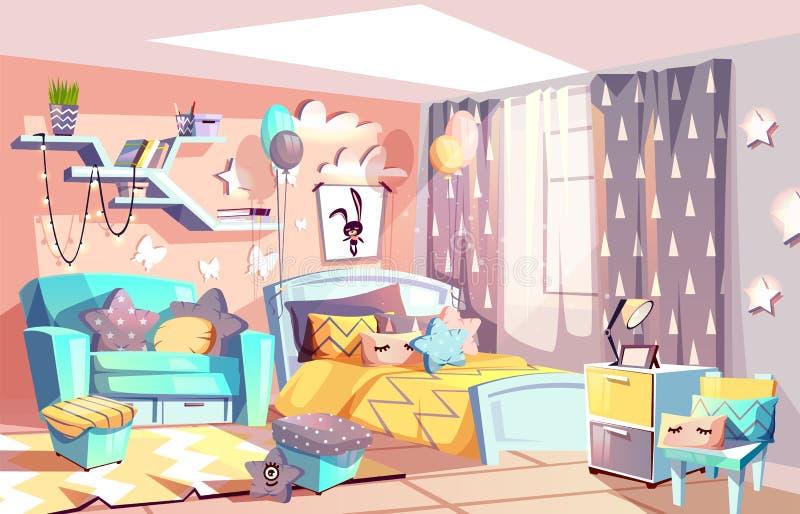 Ilustração interior do vetor da sala moderna da menina da criança ilustração royalty free