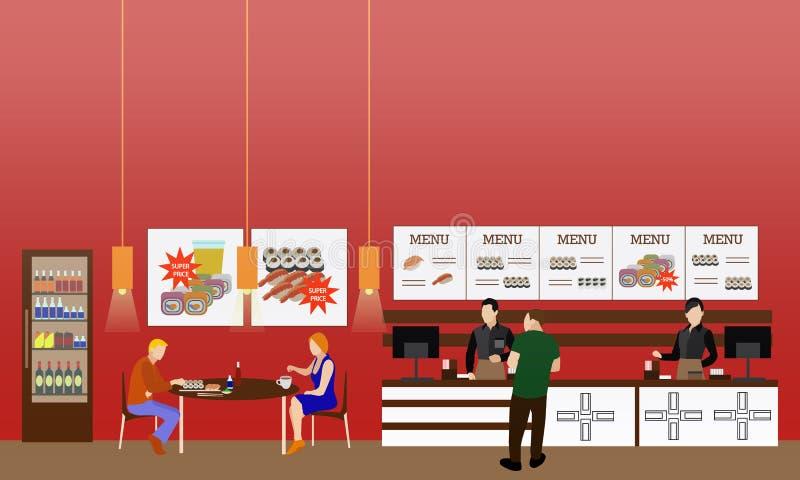 Ilustração interior do vetor do restaurante do fast food Bandeira horizontal no projeto liso do estilo Menu do restaurante ilustração stock
