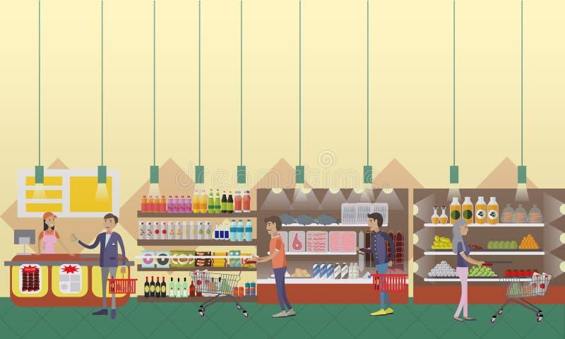 Ilustração interior do vetor do supermercado no estilo liso Produtos da compra dos clientes na despensa ilustração stock
