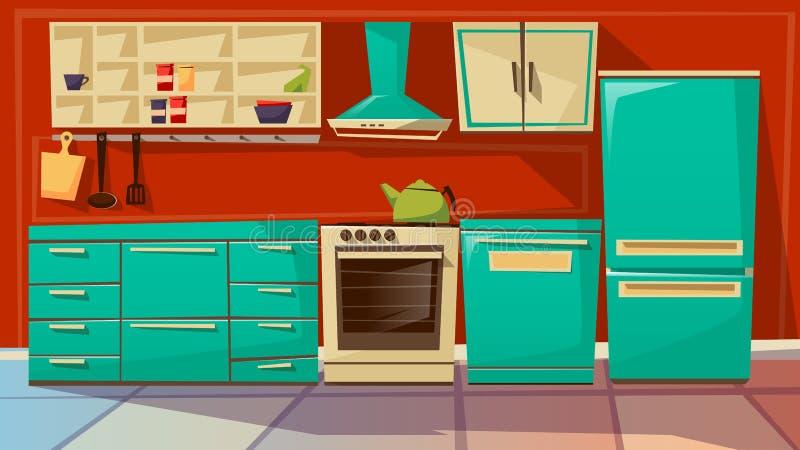 Ilustração interior dos desenhos animados do vetor do fundo da cozinha moderna da mobília e dos dispositivos da cozinha ilustração royalty free
