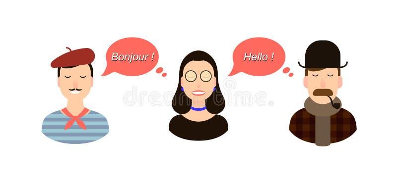 Ilustração internacional do conceito da tradução de uma comunicação turistas ou homens de negócios ou políticos de França ou ilustração do vetor