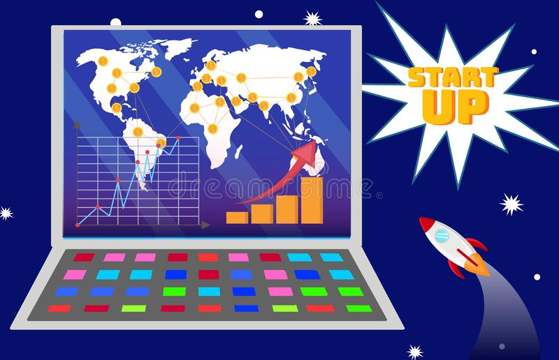 Ilustração internacional do plano de expansão da partida ilustração stock