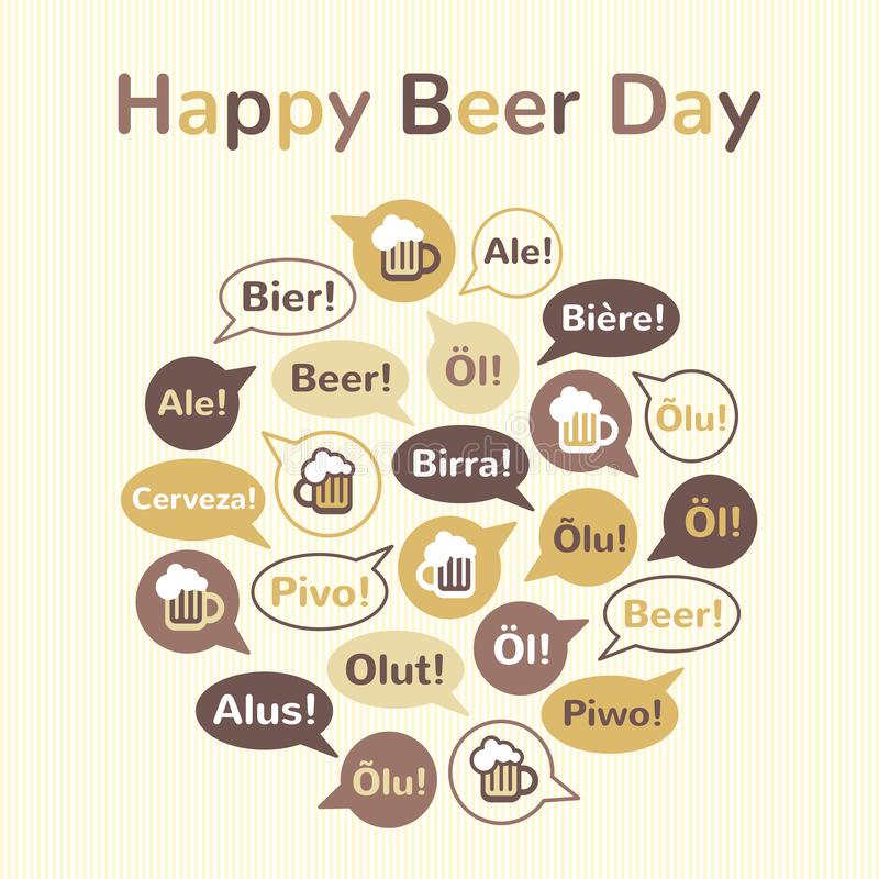 Ilustração internacional feliz do dia da cerveja, cartão ilustração stock