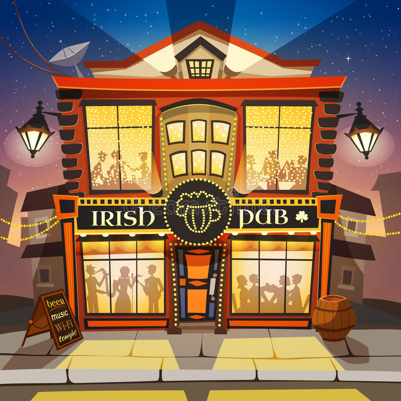 Ilustração irlandesa dos desenhos animados do bar ilustração royalty free