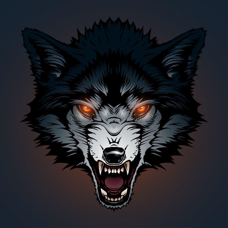 Ilustração irritada do lobo