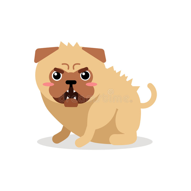 Ilustração irritada do vetor do caráter do cão do pug dos desenhos animados bonitos ilustração royalty free