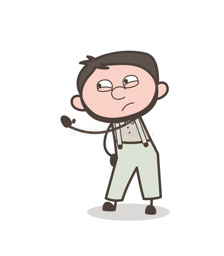 Ilustração irritada do vetor do gesto de mão do homem dos desenhos animados ilustração royalty free