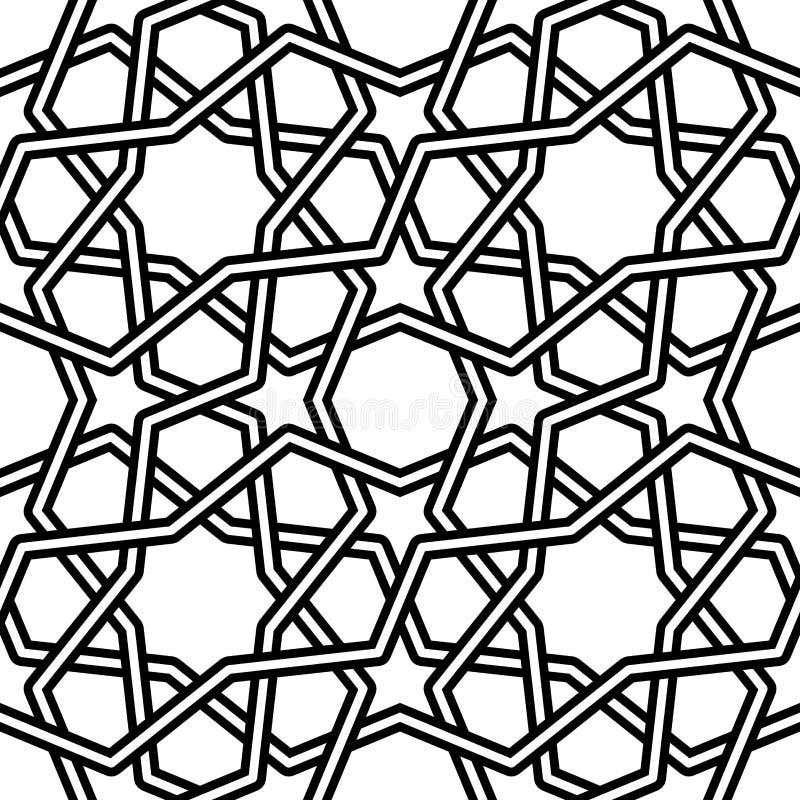 Ilustração islâmica do vetor do teste padrão no fundo branco ilustração royalty free