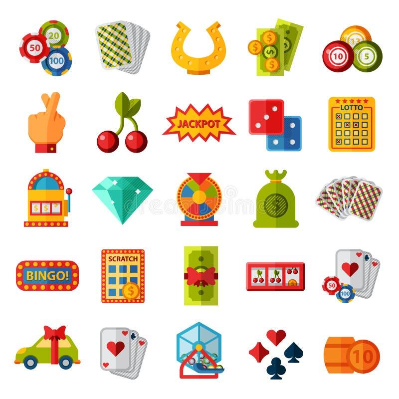 Ilustração isolada ajustada ícones do vetor do casino ilustração stock