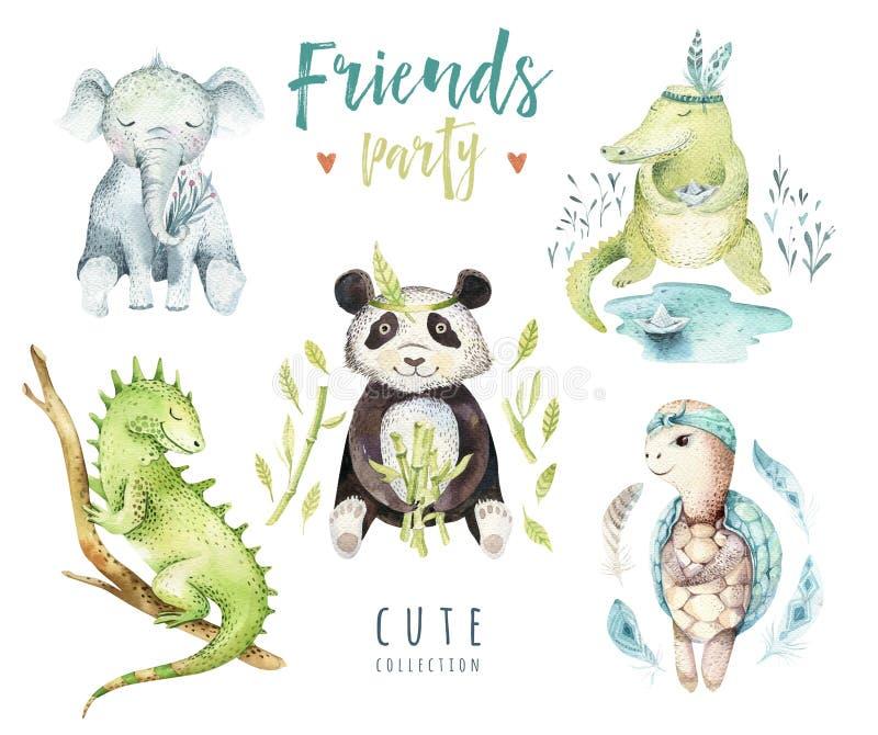 Ilustração isolada berçário dos animais do bebê para crianças Desenho tropical do boho da aquarela, punda da criança, crocodilo ilustração do vetor