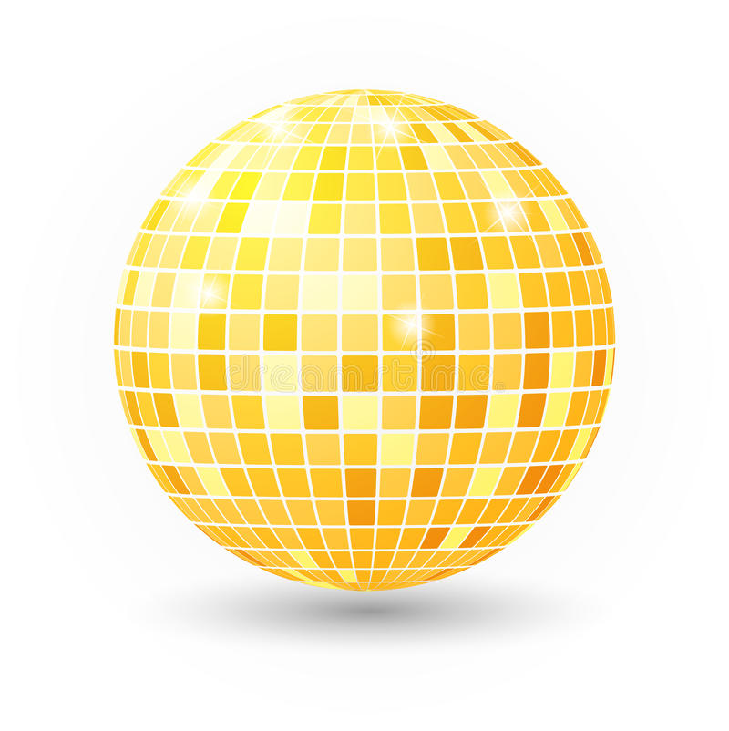 Ilustração isolada bola do disco Elemento da luz do partido do clube noturno Projeto dourado da bola do espelho brilhante para o  ilustração do vetor