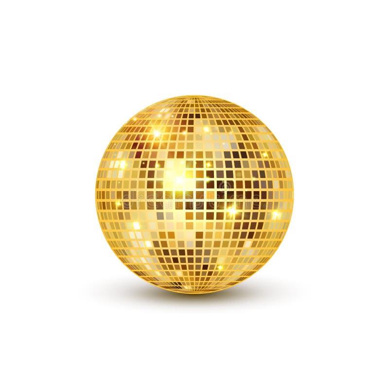Ilustração isolada bola do disco Elemento da luz do partido do clube noturno Projeto dourado da bola do espelho brilhante para o  ilustração stock