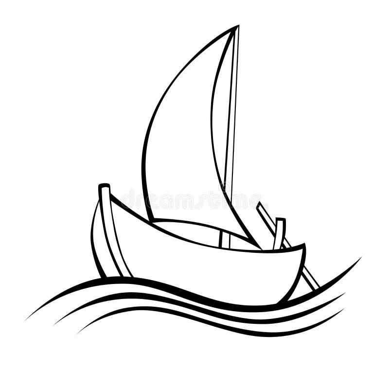 Ilustração isolada branco do objeto do preto do barco de navigação ilustração do vetor