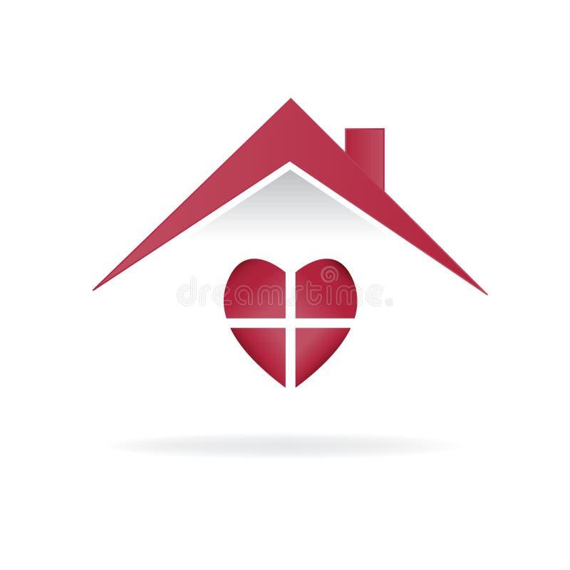 Ilustração isolada coração da imagem do vetor do cartão da identificação do projeto da ilustração do vetor do ícone do amor da ca ilustração stock