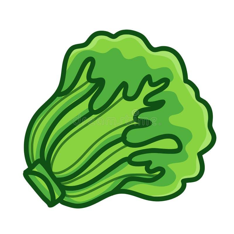 Ilustração isolada da alface desenhos animados verdes ilustração royalty free