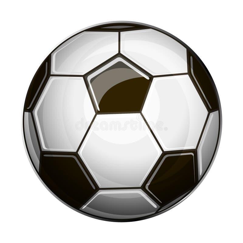 Ilustração isolada da bola de futebol preto e branco ilustração do vetor