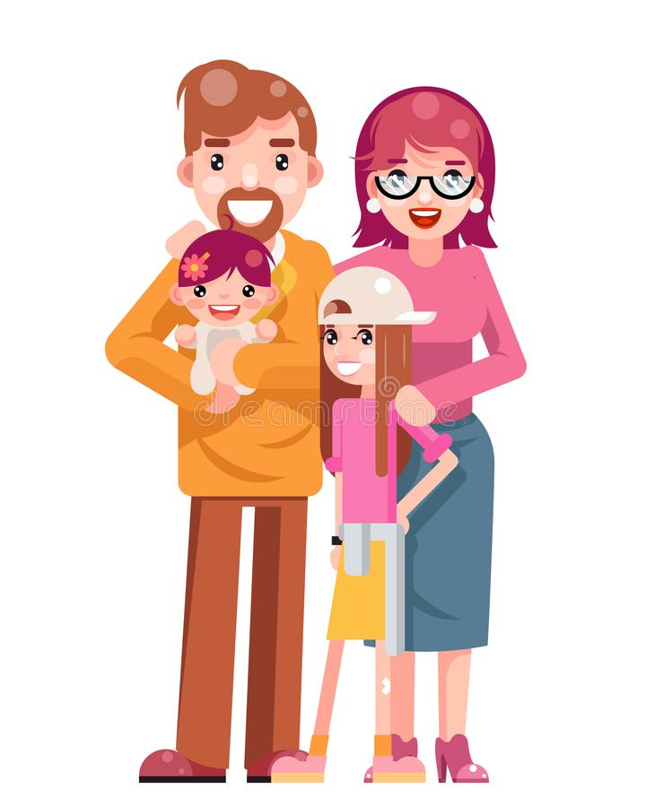 Ilustração isolada Daughter Flat Design nova feliz bonito do vetor do ícone do molde do pai da mãe do conceito de família ilustração royalty free