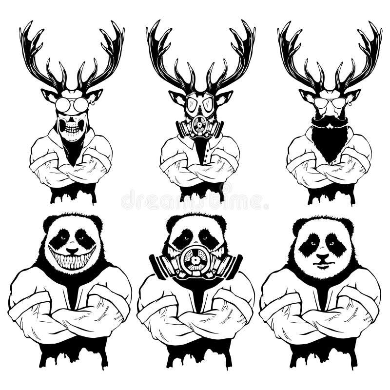 Ilustração isolada de um animal selvagem forte do grupo - homens do vetor ilustração royalty free