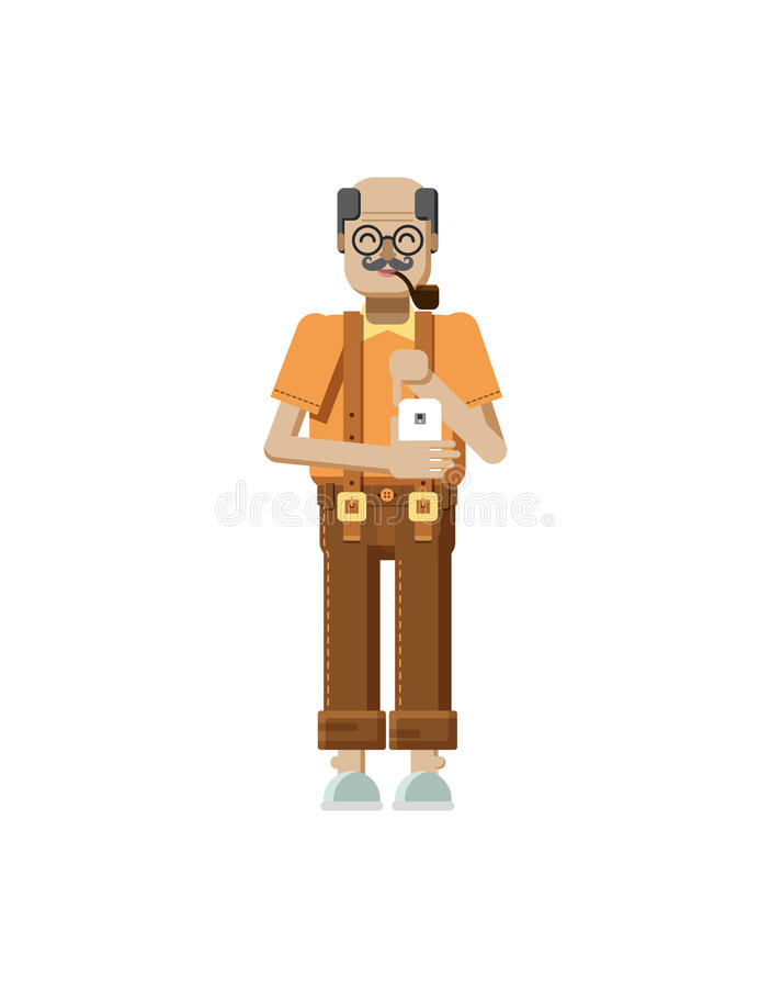 Ilustração isolada do aposentado idoso europeu, cabelo cinzento, bigode, nos vidros, ancião com smartphone à disposição ilustração stock
