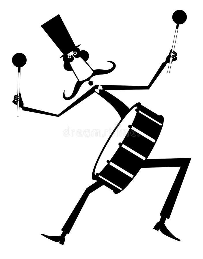 Ilustração isolada do bigode baterista engraçado ilustração stock