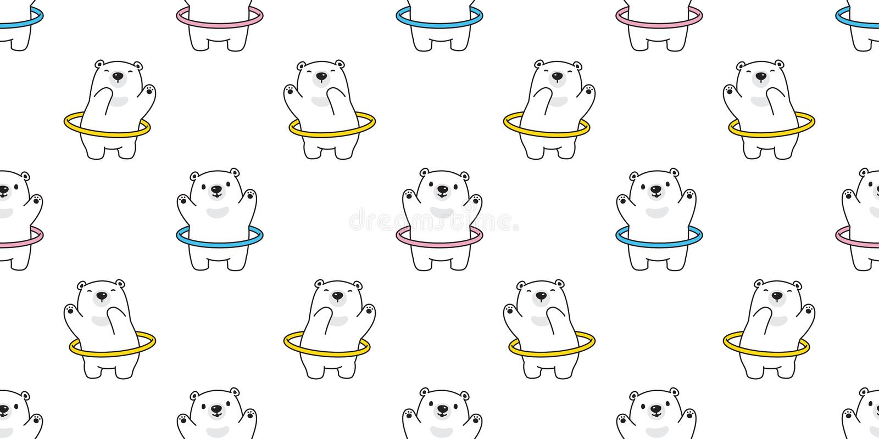 Ilustração isolada do fundo da telha do papel de parede da repetição dos desenhos animados do urso polar do esporte da aro de Hul ilustração do vetor