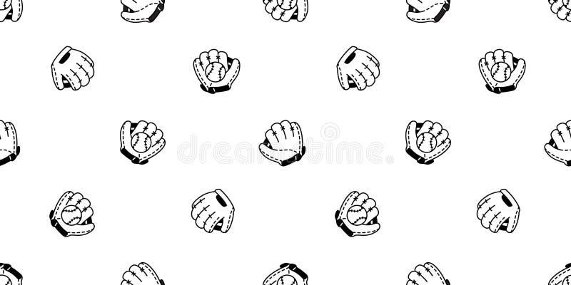 Ilustração isolada do fundo da telha do papel de parede da repetição do esporte da luva da bola do vetor do teste padrão do baseb ilustração do vetor