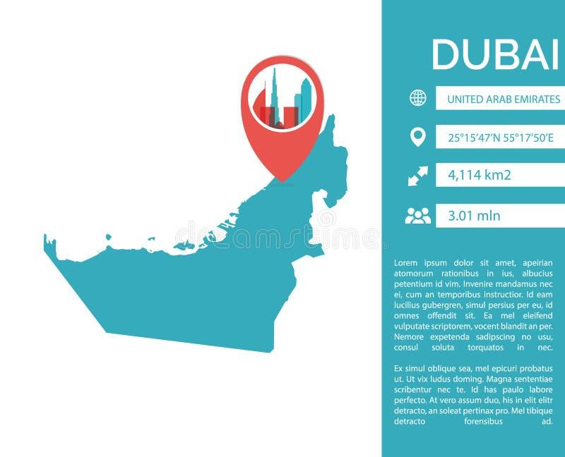 Ilustração isolada do mapa de Dubai vetor infographic ilustração do vetor