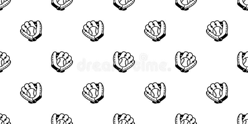 Ilustração isolada do papel de parede da repetição do fundo da telha do esporte da luva da bola do vetor do teste padrão do baseb ilustração stock